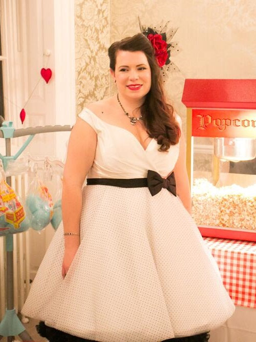1950s Plus Size Vintage Polka Dot Short Wedding Dress,20111660-Dolly Gown
