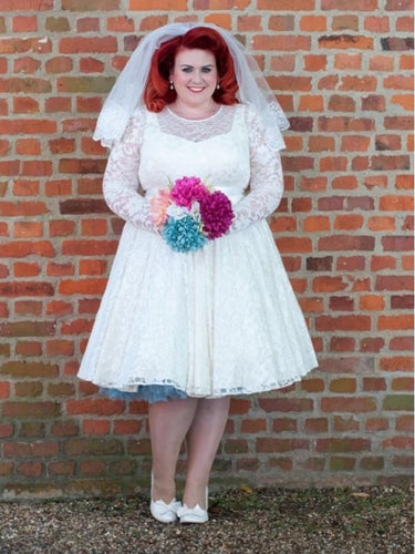 1950s Style Lace Short Vintage Wedding Dresses Plus Size with Sleeves WS041