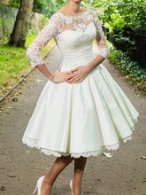 Tea Length Wedding Dresses with Sleeves Wedding Dresses Vintage 1950s Style Wedding Dresses WD006