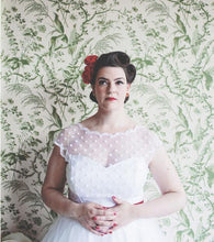 1950s Vintage Cap Sleeved  Polka Dots Tea Length Rockabilly Wedding Dress,20110641-Dolly Gown