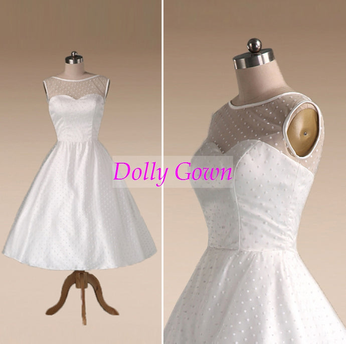 390ee82f9d4 1950s Polka Dotted Vintage Wedding Dress Tea Length with Satin Binding