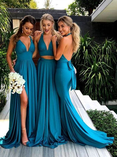 2019 Fall Teal Mismatched Long Sexy Bridesmaid Dresses