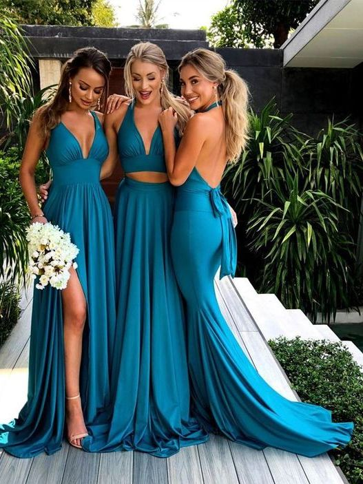 2019 Fall Teal Mismatched Long Sexy Bridesmaid Dresses Gdc1074