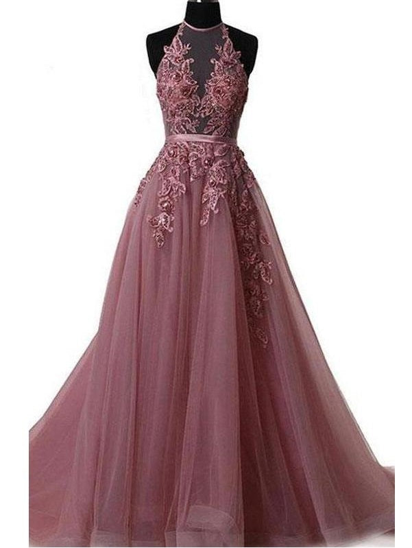 2019 Long Sweep Train Halter Dazzling Top Tulle Modest Prom Dress, GDC1160-Dolly Gown