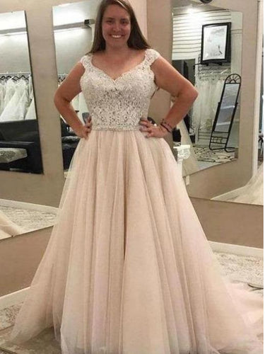 Plus Size  Lace Top Wedding Dress ,GDC1137