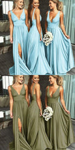 2019 Sexy Bridesmaid Dresses Blue Long Fall Deep V neck Fall Bridesmaid Gowns,GDC1046