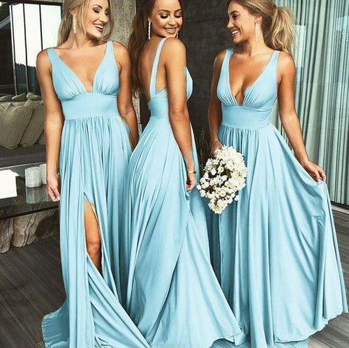 2019 Sexy Bridesmaid Dresses Blue Long Fall Deep V neck Fall Bridesmaid Gowns,DollyGown