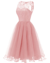 Pink Retro Modest Navy Lace Tulle Cocktail Dress Short Homecoming Dress, 074P