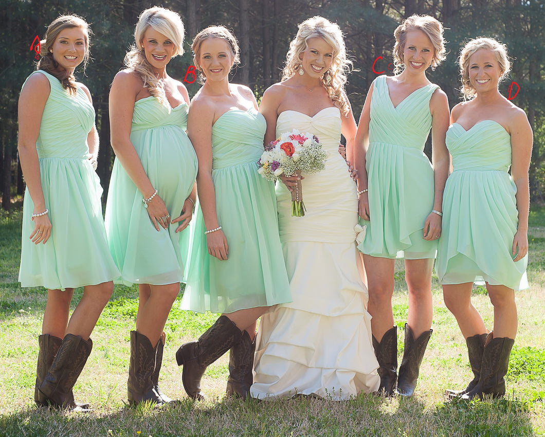 Summer Rustic Country Mint Green Mismatched Chiffon Short Bridesmaid Dresses with Boots,GDC1508