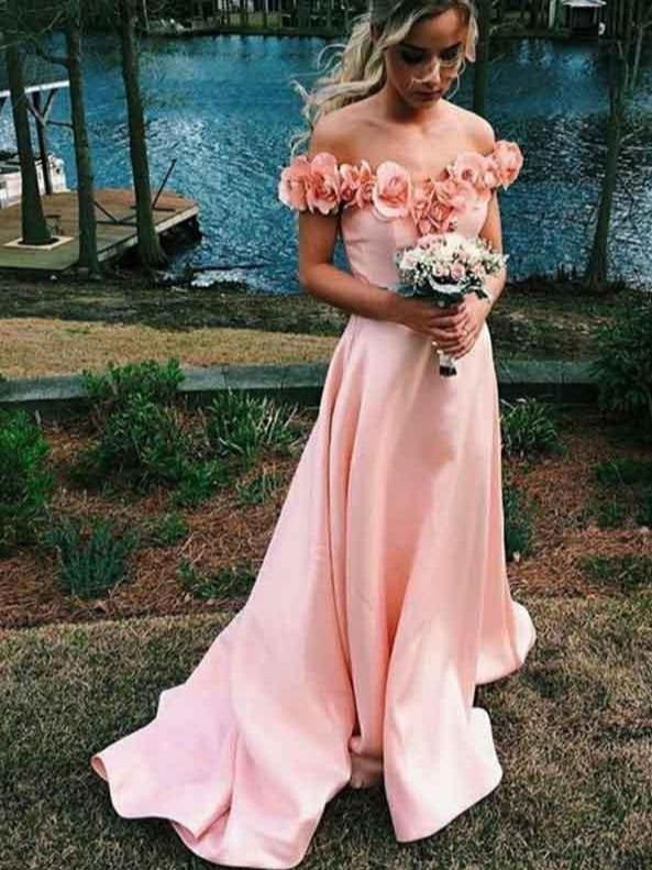 3D flowers Off Shoulders Blush Pink Prom Dress, 8th Grade Formal Dress,GDC1273-Dolly Gown
