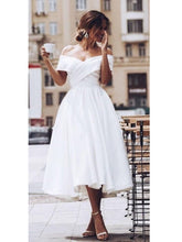 50s Style Off The Shoulder Tea Length Full Skirt Wedding Dress,Rockailly Wedding Dress,20081620
