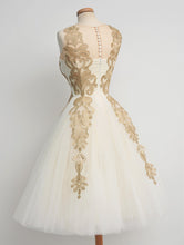 50s Vintage Tea Length Prom Dress  with Gold Lace Appliques,GDC1209