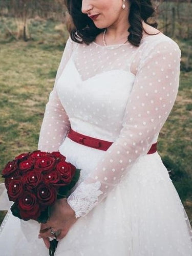 50s inspired Country Style Rockabilly Tea Length Wedding Dresses with Sleeves,GDC1519