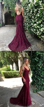 Backless Sexy Lace Burgundy Mermaid Prom Dress Long Formal Dress,#7110610