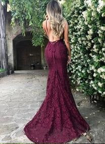 Newest Backless Sexy Lace Burgundy Mermaid Prom Dress Long Formal Dress,#7110610