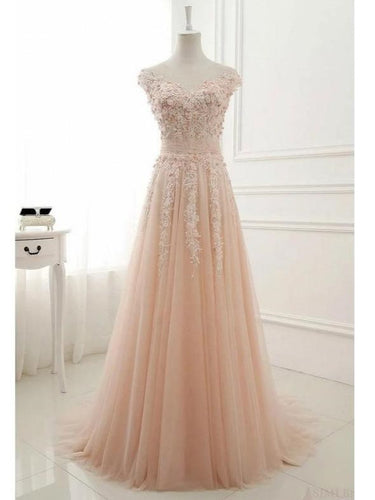 Romantic Floral A-line Tulle Unique Pale Pink Wedding Dress,#711063