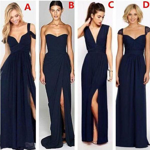 Navy Blue Mismatched Side Slits Long Bridesmaid Dresses,#711064