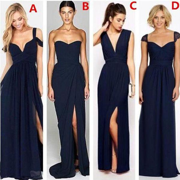 A Line Navy Blue Mismatched Side Slits Long Bridesmaid Dresses Wedding Guest Dresses 711064