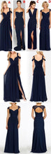 A-line Navy Blue Mismatched Side Slits Long Bridesmaid Dresses Wedding Guest Dresses,#711064