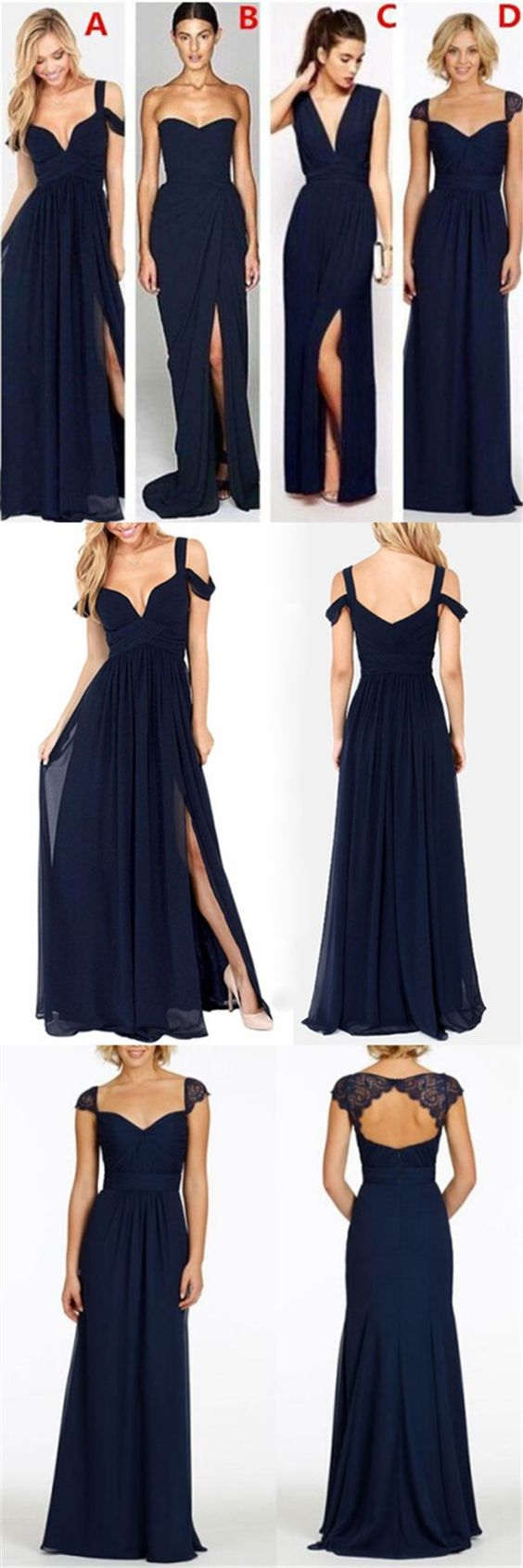 A Line Navy Blue Mismatched Side Slits Long Bridesmaid Dresses