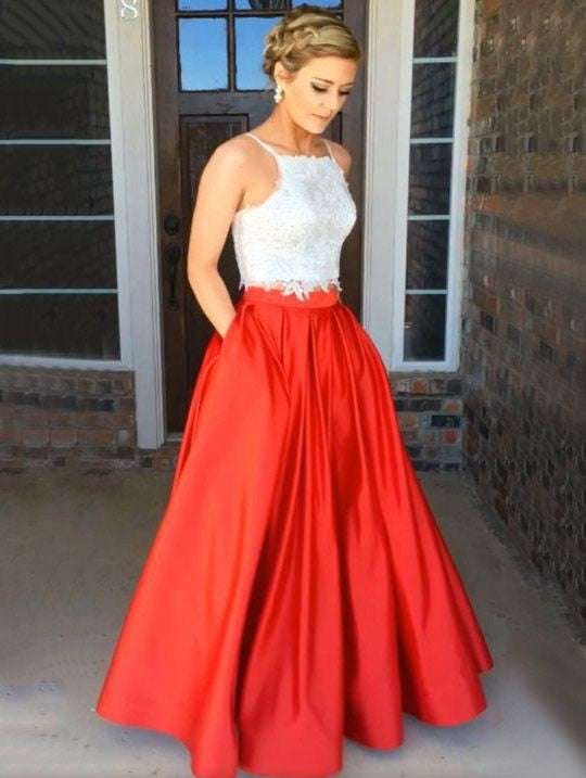 a90699ddc4 Newest 2 Piece White Lace Crop Top Prom Dress Long with Red Skirt for Teens,