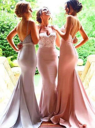 Pastel Bridesmaid Dresses Long Mermaid Low Back Bridesmaid Dresses with Spaghetti Straps,711081