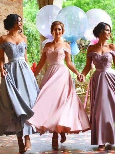 Ankle Length Pastel Bridesmaid Dresses,Off the Shoulder Bridesmaid Dresses with Delicate Lace Appliques,,#711088-Dolly Gown