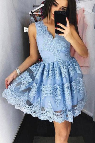 Blue Modest Lace Homecoming Dress Short for Freshman,Perfect Short Cocktail Dress,7111801