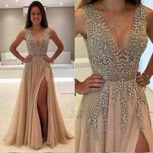 Prom Dress,Lace Champagne Tulle V-neck Sexy Prom Dress,Unique Tulle Formal Dress,201707203-Dolly Gown