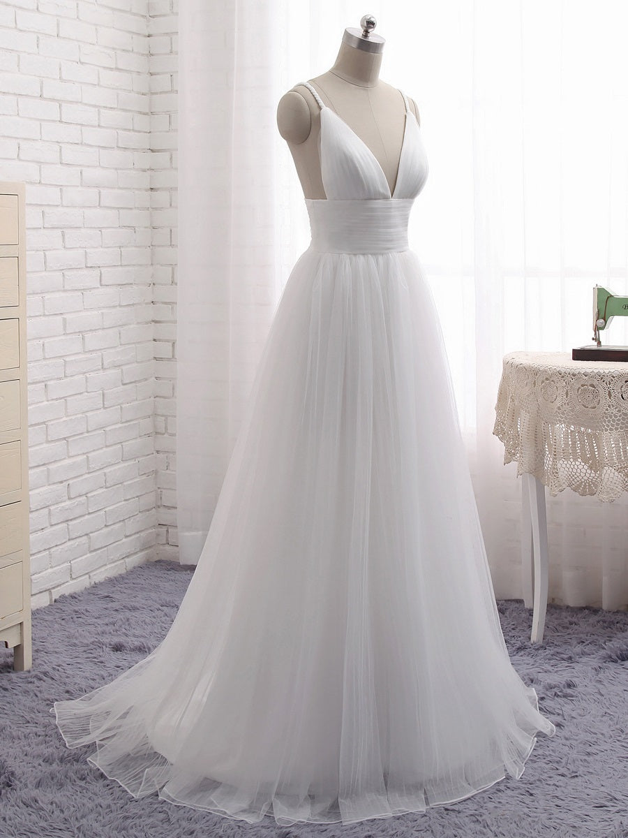 A-line Flowy Romantic Tulle Boho Beach Wedding Dress with Layered Tulle Skirt #21011216-Dolly Gown