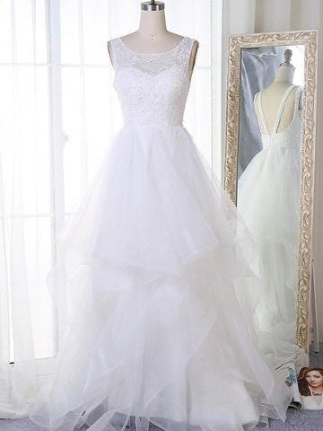 Jewel Neck Organza Princess White Wedding Dress, Robe De Mariée,GDC1270