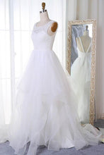 A-line Jewel Neck Organza Princess White Wedding Dress, Robe De Mariée,GDC1270