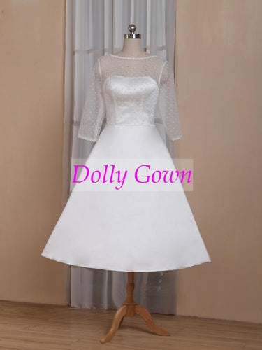 Polka Dot Tea Length 50s Wedding Dress with Sleeves,GDC1523