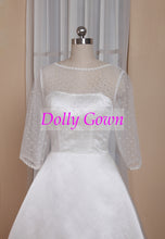 A-line Pinup Rockabilly Polka Dot Bateau Neck Tea Length 50s Wedding Dress with Sleeves,GDC1523-Dolly Gown
