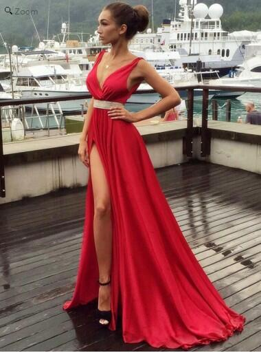 Discount A-line Red Side Slit Evening Dress Long Prom Dress,Red Party Dress,GDC1121