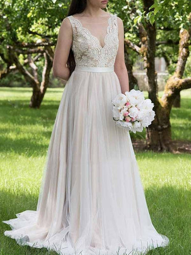 A-line V neck Lace Top Country Wedding Dress with Tulle Bottom, Vestido de novia ,GDC1331