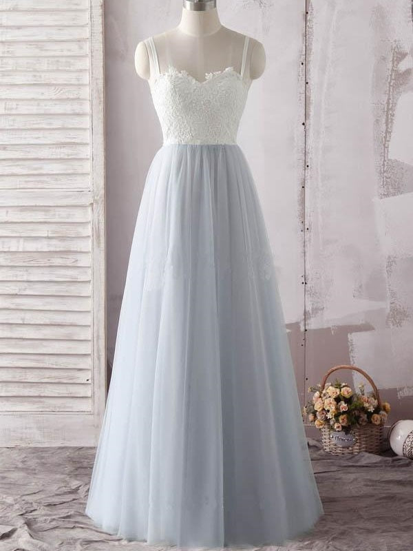 A line Tulle White Lace Top Long Sweetheart Neck Prom Dress,GDC1151