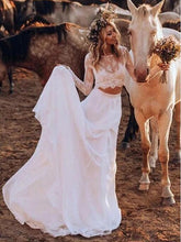 Affordable Casual Long Sleeve Lace Top Bridal Separates,Rustic 2 piece Crop Top Wedding Dress,20081605