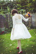 Lace Round Neck Tea Length Wedding Dress with 3/4 Sleeves,20110637