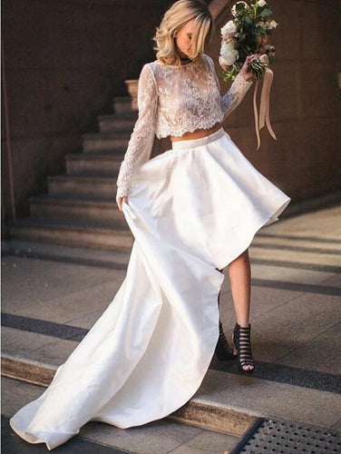 Two Piece Long Sleeved Lace Top Wedding Dress with Hi-Lo Skirt Wedding Dress,20082207