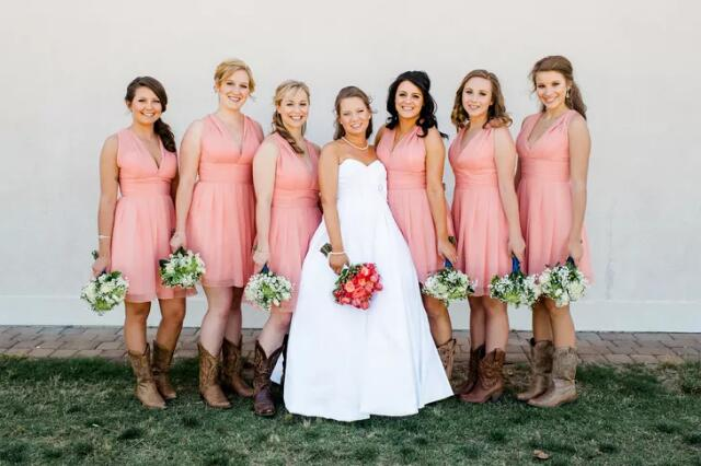 Amazing Rustic Country Coral Short Summer Chiffon Bridesmaid Dresses with Cowboy Boots,GDC1504