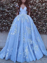 Attractive Ice Blue Ball Gown Lace Wedding Dress,GDC1146