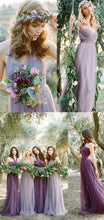 Awesome Long Mismatched Tulle Bohemian Purple Bridesmaid Dresses,Romantic Convertiable Bridesmaid Dresses,17112001-Dolly Gown