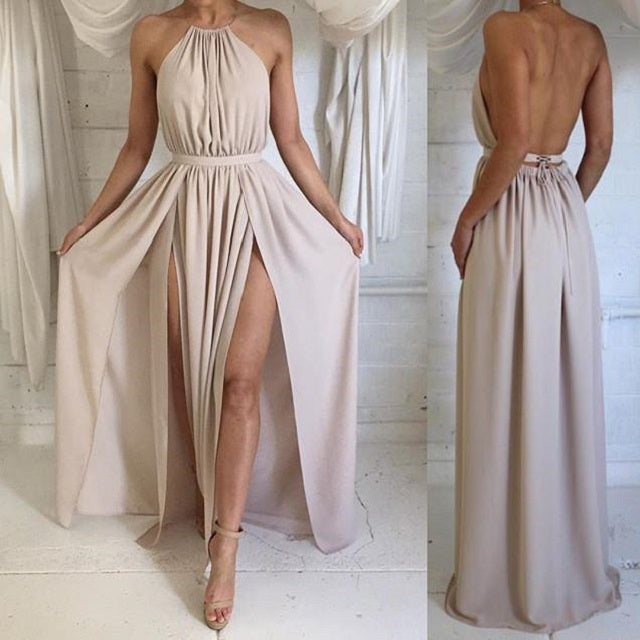 Backless Party Dress,Chiffon Prom Dress,Long Prom Dress,Dusty Prom Dress,MA154-Dolly Gown