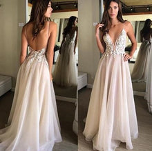Backless Spaghetti Straps A-line Organza Flowy Prom Dress Long,GDC1346-Dolly Gown