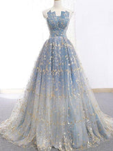 Poofy Ball Gown Blue Prom Dress with Delicate Gold Leaf Lace, GDC1073