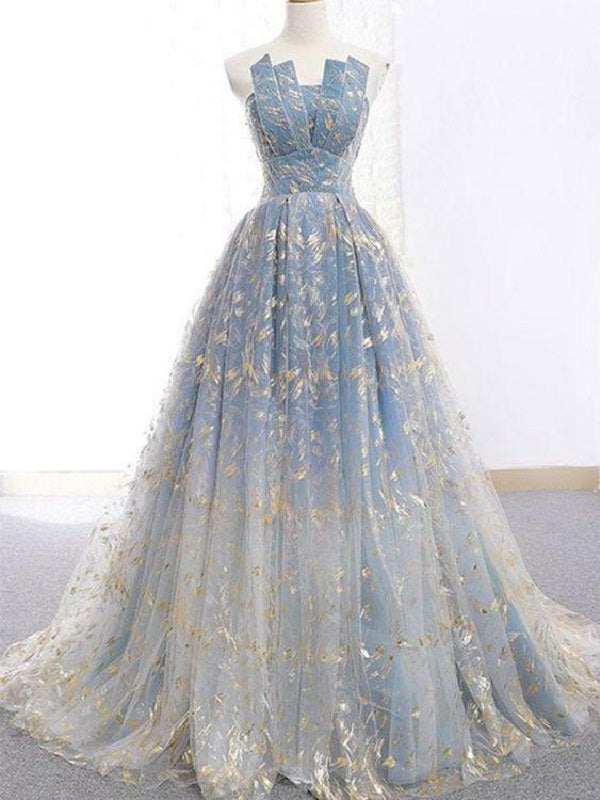 Ball Gown Blue Prom Dress with Delicate Gold Leaf Lace, GDC1073