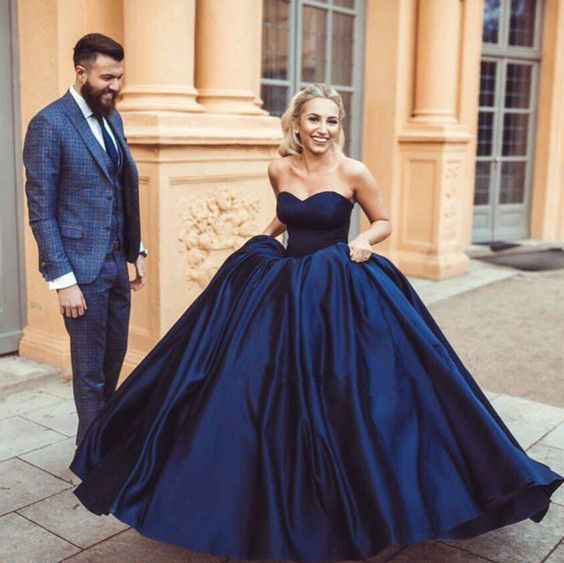 Ball Gown Sweetheart Navy Blue Simple Wedding Dress,GDC1211