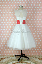 Bateau Polka Dots 50s Style Tea Length Wedding Dress with Red Waist Panel, GDC1521