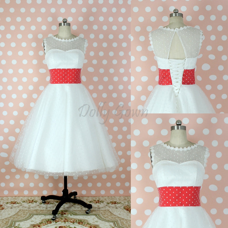 Bateau Polka Dots 50s Style Tea Length Wedding Dress with Red Waist Panel, GDC1521-Dolly Gown